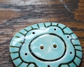 Aqua & Brown Large Carved Button
