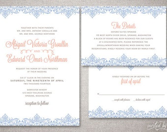 "Classic Vintage ""Abigail"" Wedding Invitation Suite - Traditional Elegant Ornate Invitations - Digital DIY Printable or Printed Invite"