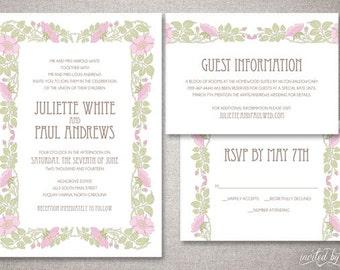 "Art Nouveau ""Juliette"" Wedding Invitations Suite - Vintage Garden Floral Deco Invitation - Custom DIY Digital Printable or Printed Invite"