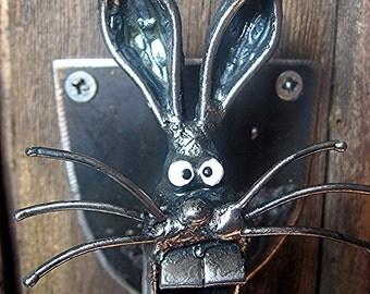 Bottle Opener ,Wall Mounted Rabbit's Head Bottle Opener Handmade from recycled Steel
