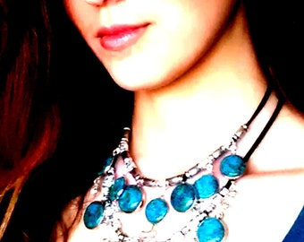 Leather turquoise necklace.