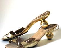 Onex Rhinestone and Gold Disco Slingback Kitten Heals size 8