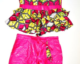 Pink And Yellow  African Print Short Set, Strapless Ankara Short Set, African Shorts, Handmade Suit, Women Pink Pant Suit