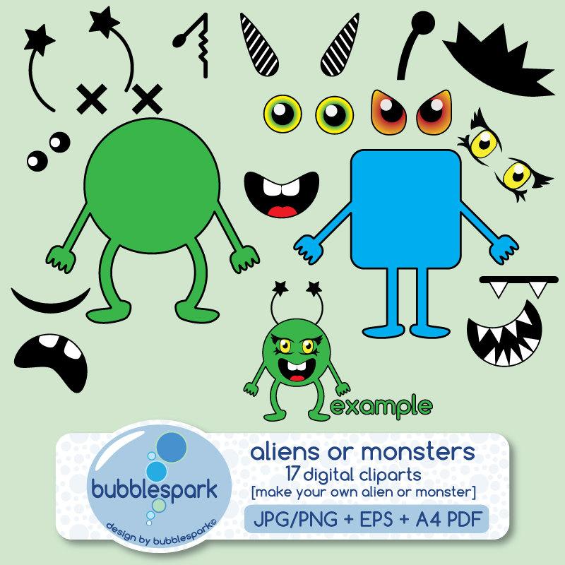 aliens or monsters digital clip art pack body shapes eyes