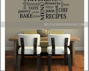 Kitchen Wall Decal Decor Subway Art Dining Room