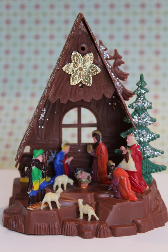 Vintage Plastic Nativity Scene