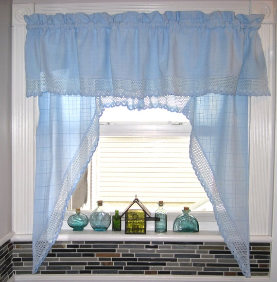 Blue color bathroom kitchen window curtain valance drapes