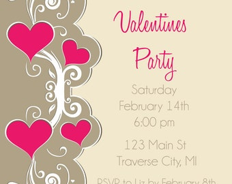 Hearts Valentines Invitation - Valentines Day Party Invitation - Digital