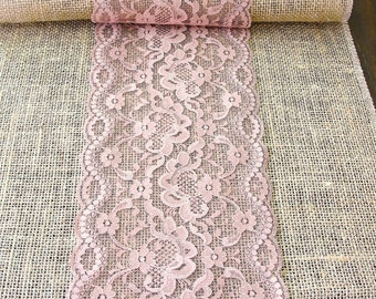 table with  rustic wedding table rose wedding lace table table runner dusty  runner runner