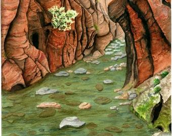 Desert Southwest Landscape Painting, Watercolor,  Zion National Park Print 10.5x15