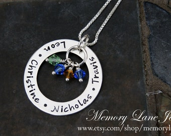 Center of My World w/ Birthstones (LARGE) - Mother/Grandmother Necklace