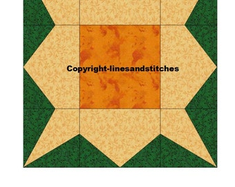 Sunflower Paper Pieced Quilt Block Pattern Pdf