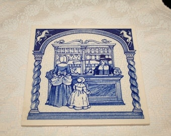 Delft  Pill Tile: Mother and Little Girl