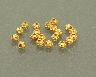 50 of Bali Vermeil Bead Spacer, 24K Gold Plated Sterling Silver, 5 mm, V5040