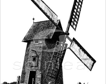 Windmill Art Print, Pen & Ink, Landscape Illustration