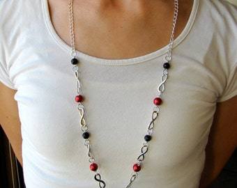 Black and Red Infinity Lanyard Necklace