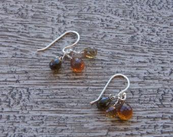 Petro tourmaline & mandarin citrine briolette earrings. Faceted gemstones. S. S. tiny/Natural /organic/ Fall / Autumn/ warm/ everyday/