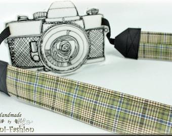 Camera strap, DSLR, camerastrap, light green, checkered