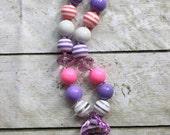 pink and purple girls chunky bubblegum bead necklace princess necklace girls  chunky necklace bubble gum necklace birthday doc mcstuffins