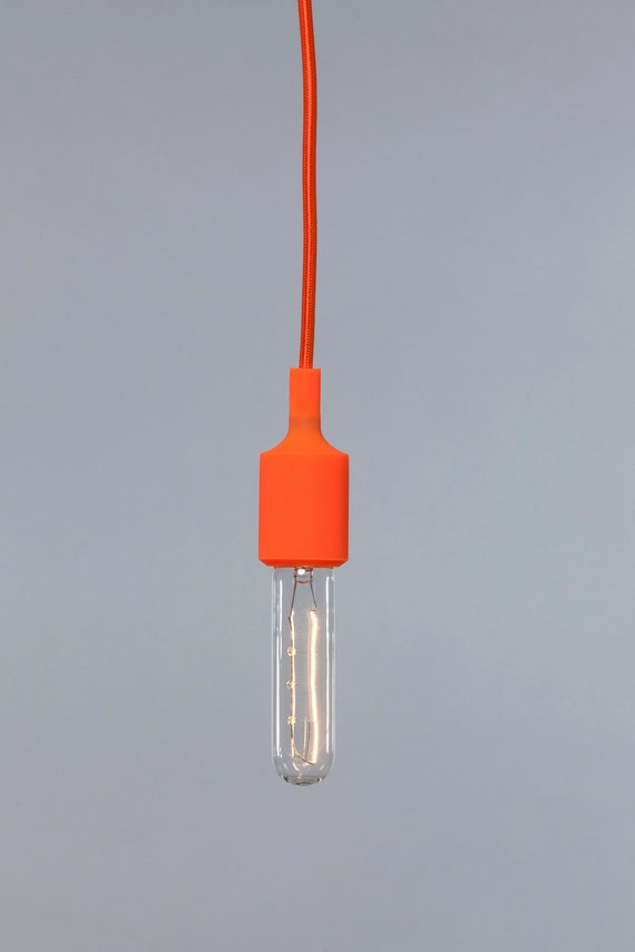 color cord pendant light orange socket by indlights on etsy. Black Bedroom Furniture Sets. Home Design Ideas