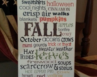 FALL~Autumn~Harvest~Hand Painted Wood Sign~Wall Decor~Typography~Subway Sign