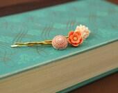 bobby pin set, orange bobby pin, purple hair pin, spring bridal hair accesories, bridesmaids hair accesory