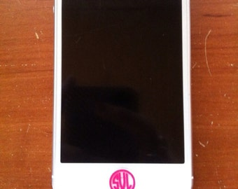 Set of 8 iPhone or iPad Home Button Monogram Sticker Decal