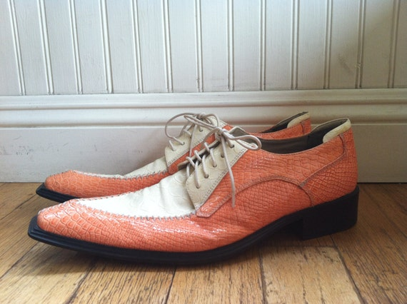 vintage miralto faux alligator shoes size 12 pink white
