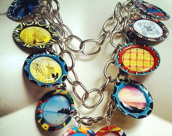 Upcycled Bottle Cap Necklace, Culture Bling
