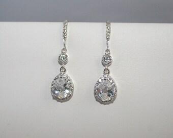 Bridal earrings, Bridesmaid earrings, sparkling teardrops
