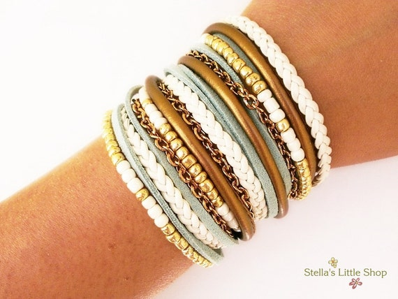 Wrap Bracelet, Wide Bracelet, Beaded Bracelet, Triple Bracelet, Leather Bracelet, Chain Bracelet, Bohemian Bracelet, Fashion Bracelet, Nappa
