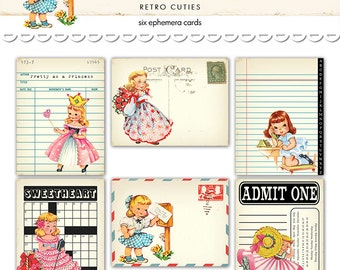 "Digital Retro Girl Ephemera Cards / library card, postcard, ticket, notepaper, crossword / 3"" by 4"" / downloadable / printable"