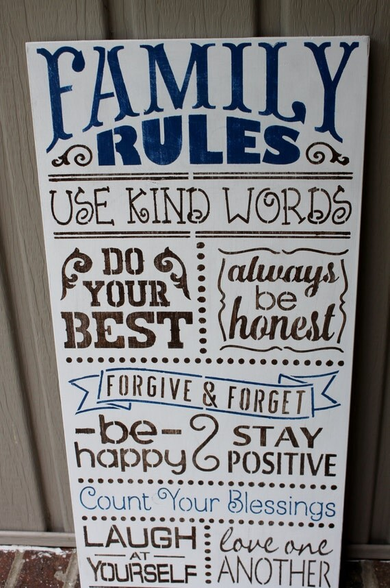 Items Similar To Family Rules Sign Home Decor Sign Hand