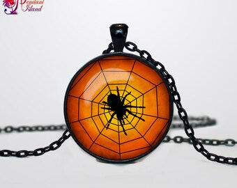 Spider necklace Spider pendant Spider necklace Halloween jewelry Trick or Treat Halloween Pendant Halloween  jewelry black orange