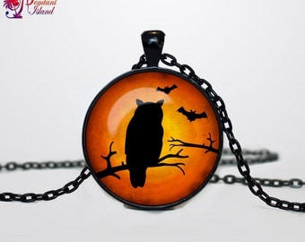Halloween Owl necklace Halloween Owl pendant  Halloween jewelry Trick or Treat Halloween Pendant Halloween  jewelry black orange