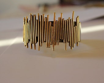 wide metal cuff bracelet, bracelet,ready to ship,gold and silver tone bracelet,unique ,Architectural Cutout Cuff,Open  Cuff,adjustable cuff