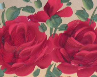 Three Hand Oil Painted Golden Trays of Red Roses