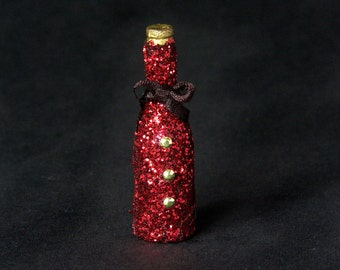 Glittering Red Jacket Miniature Bottle for Your Dollhouse