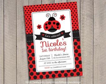 Ladybug Invitation / Ladybug Invite / Ladybug Invitation Printable / 1st Birthday Ladybug Invitation / Ladybug Birthday / Ladybug Printable