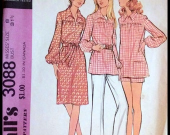 McCall's 3088  Misses' Dress Or Top, Pants And Shorts  Size 8  UNCUT