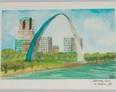 St Louis Print 5x7 (St Louis Watercolor), St Louis Skyline, Gateway Arch Print St Louis Cityscape Painting Gateway Arch Paint