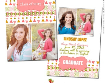INSTANT DOWNLOAD 5x7 Graduation Announcement Card Template - CA091