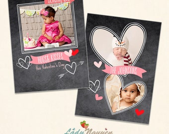 INSTANT DOWNLOAD - Valentine Photoshop Card Template - CA437