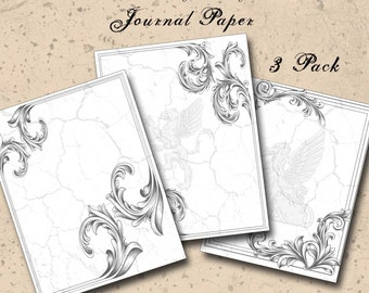 Gray Stone Journal Paper 3 Sheets - Toner/Ink Friendly - Black/White - Digital Paper - 8.5 x 11 - Stationery Journals and Digital Collage