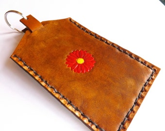 Leather Luggage Tag (Bag Tag) - Sunflower