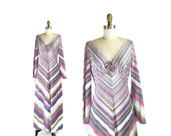 SALE 1970s ESTEVEZ Chevron Maxi Dress Boho Hippie Bell Bottom Sleeve / The Eva Gabor Look