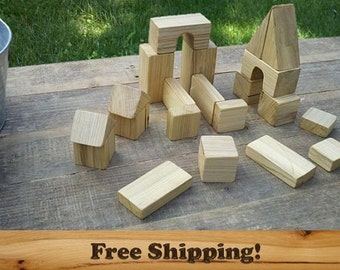 Wooden Building Blocks set of 21, Handcrafted wooden toy blocks. Assorted Shapes and Sizes, Baby Blocks, Wood Building Blocks with a bag!