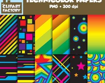 Clip Art: Technicolor Papers - 12 Digital Backgrounds