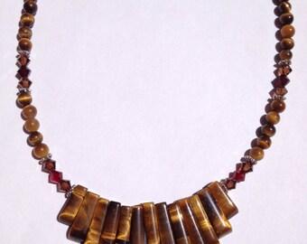 Tiger's Eye Gemstone Necklace, Gemstone Fan Necklace, Swarovski Crystal, Natural Gemstone Necklace
