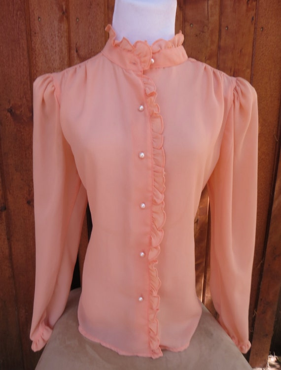Sheer Ruffle Blouse Peach Edwardian Collar 70s Secretary Pink Pearl Buttons Puff Sleeve Size Medium Large